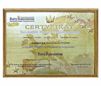 Certyfikat Eurorenoma 2016