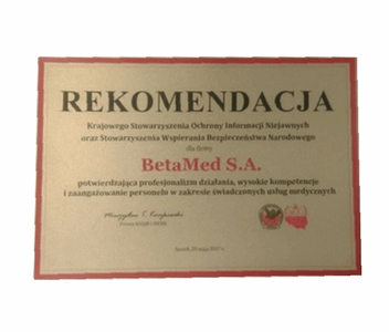 A letter of recommendation confirming the professionalism, high competence and commitment in the supply of medical services