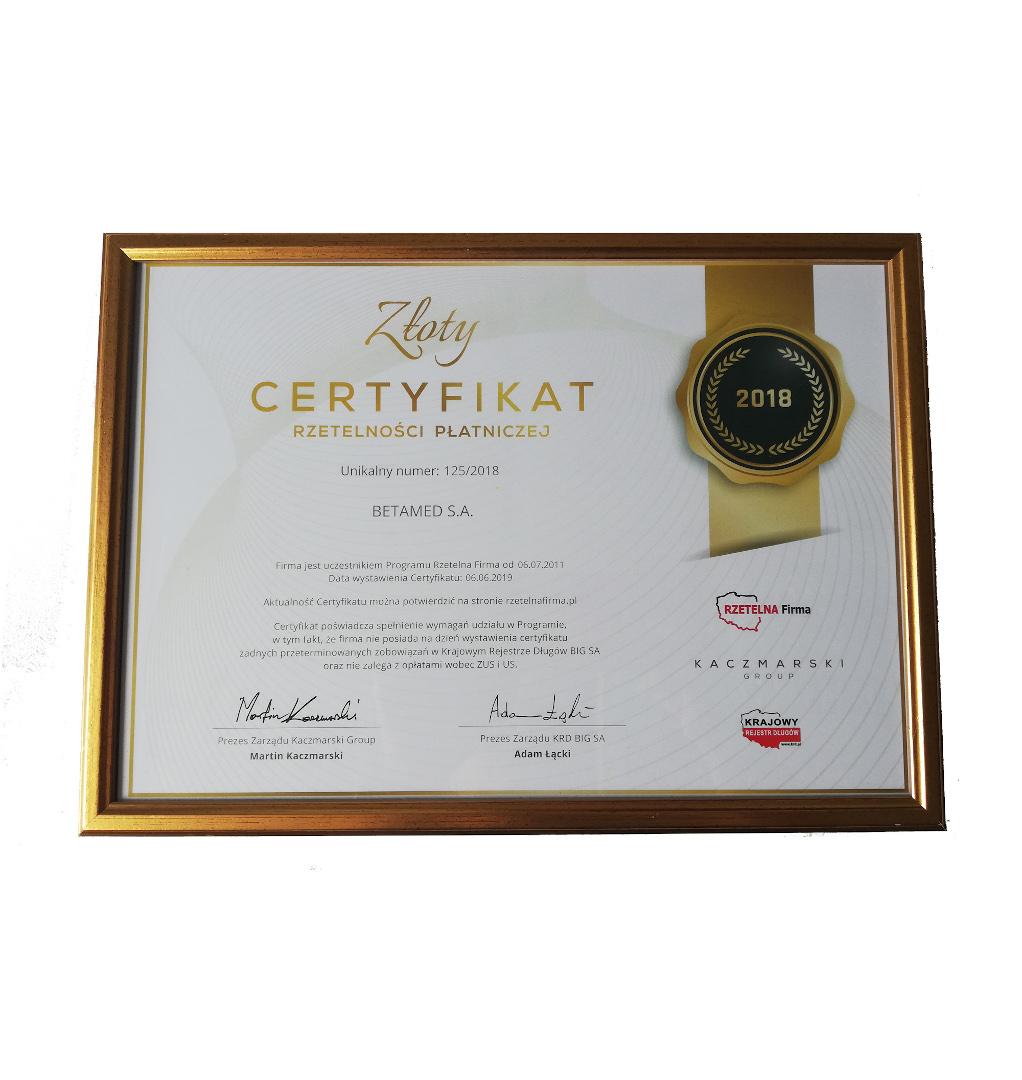 Złoty Certyfikat Rzetelności Płatności