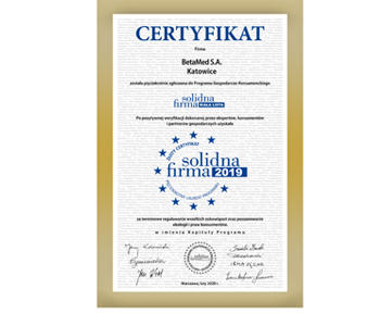Golden Certificate - Solidna Firma