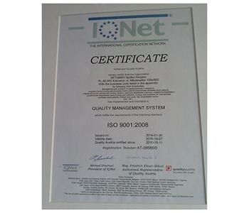 Certyfikat Systemu Zarządzania Jakością IQNet ISO 9001:2008