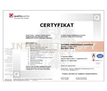 Certyfikat Systemu Zarządzania Jakością ISO 9001:2015