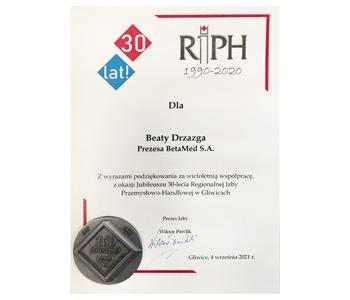 Podziękowanie za wieloletnią współpracę, z okazji 30-lecia RIPH