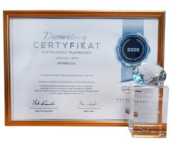 Diamentowy Certyfikat Rzetelności Płatności 2020