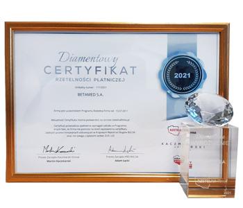 Diamentowy Certyfikat Rzetelności Płatności 2021